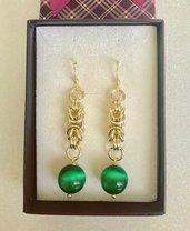 Orecchini con Occhi di Gatto Verde Smeraldo