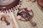 Collana colorata con elefante color rame - Giada rosa - Giada verde - Gioielli particolari - Bigiotteria originale