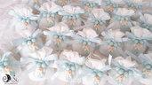 Bomboniera battesimo rosari con angelo celeste baby confezionamento con sacchetto in tessuto bianco
