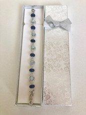 Bracciale Alternato da Maglie in Alluminio e Agate Blu