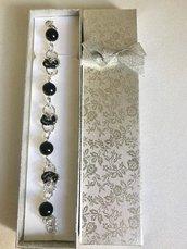 Bracciale Argento e Nero con Pietre in Onice Effetto Diamantato