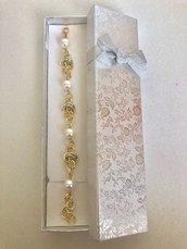 Bracciale in Alluminio con Effetto Lucido e con Perle di Maiorca