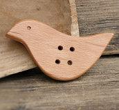Bottone a forma di uccellino in legno di faggio