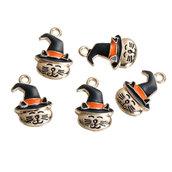 5*  Pendente Charms Gatto gattino con cappello Halloween, Carnevale, bomboniera bomboniere per bigiotteria, collane portachiavi, orecchini  chiudipacco