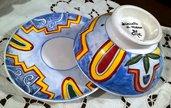 2° Tazzone per cereali con piatto di ceramica dipinti a mano, diversi motivi e colori vivaci