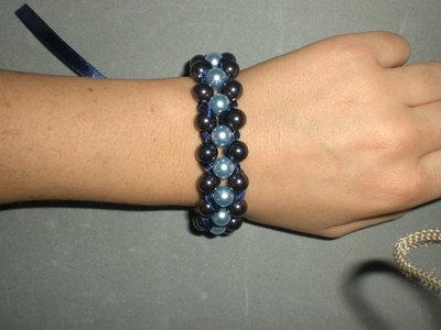 bracciale perle blu azzurre