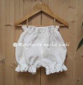 Copripannolino/culotte neonata/bambina in puro lino bianco - fatte a mano - Battesimo