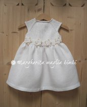 Abito Battesimo neonata/bambina - cotone bianco/panna e puro lino bianco - fatto a mano