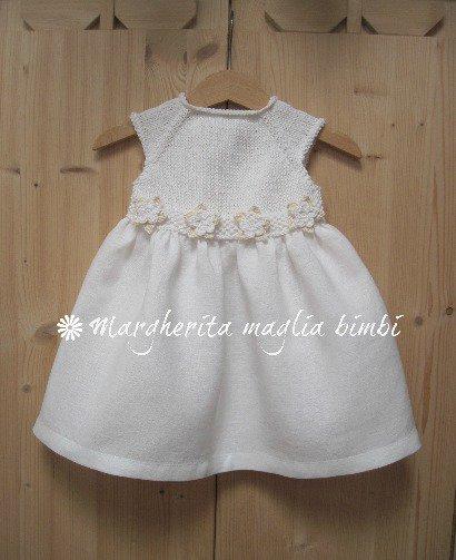 primo sguardo morbido e leggero nuovo autentico Abito Battesimo neonata/bambina - cotone bianco/panna e puro lino bianco -  fatto a mano