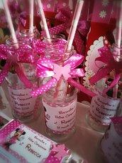 Bottiglia in vetro porta succo Minnie con cannuccia Festa compleanno battesimo comunione cresima
