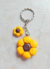 Fiore giallo portachiavi fimo