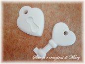 Lotto chiave + lucchetto cuore in silicone