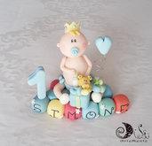 Cake topper Auguri Principino Primo compleanno su cubi auguri multicolor e numero personalizzabile
