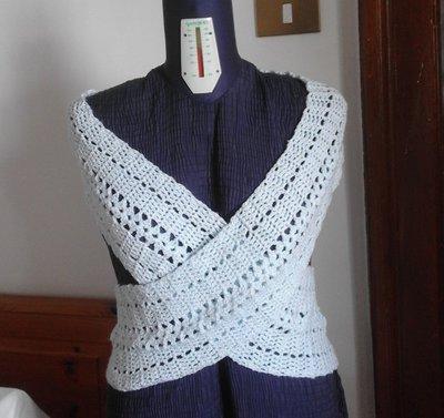 gilet bolero maxi sciarpa maglia incrociata