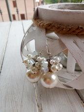 Orecchini perle cristalli