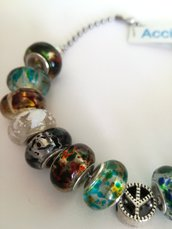 Bracciale unisex Acciaio e Perline Colorate
