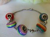 Bracciale Acciaio Inox e Perline arcobaleno unisex