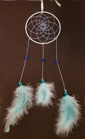 dreamcatcher azzurro/blu con piume personalizzabile