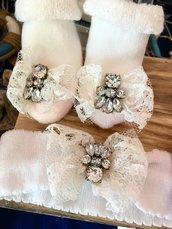 Fascia e Scarpine gioiello nascita