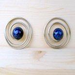 Orecchini a spirale anni 80 - orecchini vintage - grandi orecchini - orecchini perla blu