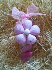 Portachiavi fiore rosa in fimo