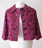 Giacca - giacchina  bolero - giacchina scaldacuore  - giacchina vintage - giacca broccato - giacca fuxia