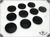 10 bottoni in nylon, 20 mm, colore nero, attaccatura 4 fori