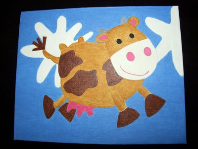 quadro,mucca per la  cameretta