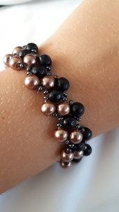 Bracciale LUXURY bicolore con perle rame e onice nero