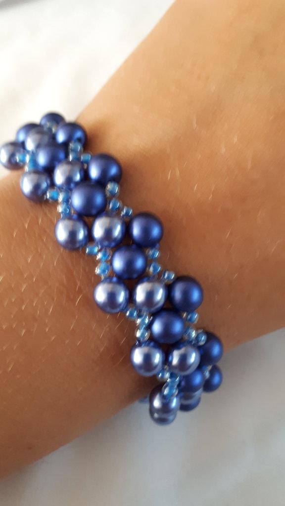 Bracciale LUXURY bicolore con perle blu