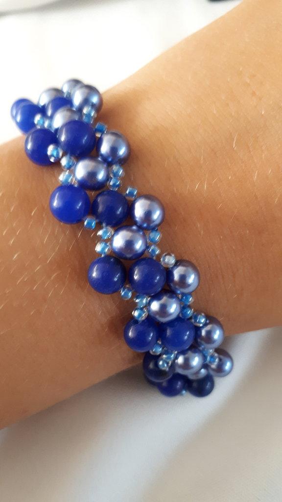 Bracciale LUXURY bicolore con perle blu e agata blu