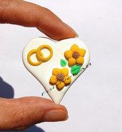 Cuori con girasole e fedi - anelli  cuore per bomboniere segnaposto matrimonio nozze