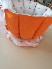 Tazza porta cialde shabby fatta a mano arancione cuoricini