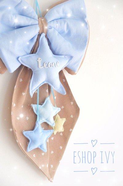 Fiocco nascita in stoffa con stelle cuori personalizzato con nome