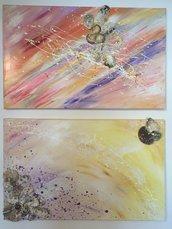 Coppia quadri acrilico su tela con conchiglie