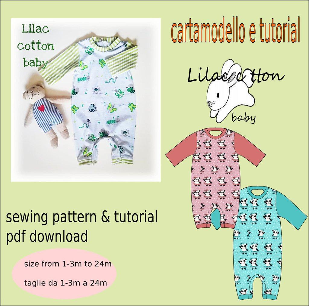 cartamodello tutina in jersey neonato tg1-3 mesi a 24-36 mesi