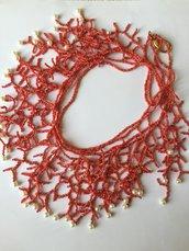 Collana rossa tipo corallo