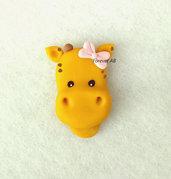 Giraffa giraffina con fiocco rosa nascita battesimo compleanno bomboniere bomboniera