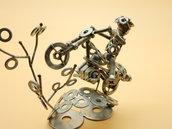 motocross pista motocross motocross gift scultura motocross motocross racing regalo motocross  scultura bulloni Art metal arte del riciclo