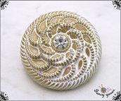 5 bottoni gioiello mm.20,colore oro sbiancato, con strass centrale, attaccatura con gambo