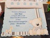 Invito Battesimo Bimba con orsetto Personalizzato