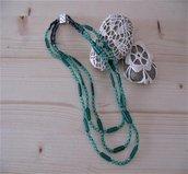 Collana a tre fili con cristalli di Boemia e perle Veneziane -