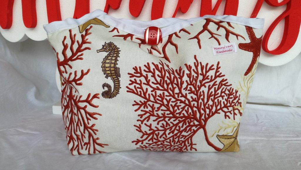 Borsa in cotone, fatta a mano, fantasia corallo