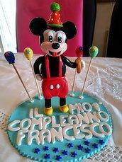 Cake Topper in fimo compleanno di Topolino personalizzabile