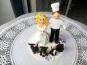 Cake topper in fimo per matrimonio sposi