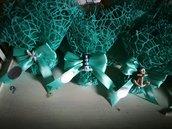 Sacchetti verde tiffany tema mare bomboniere matrimonio comunione faro timone ancora