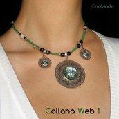 COLLANA WEB 1 - in acciaio e perline con cabochon glitter mix - NICKEL FREE
