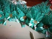 Sacchetti verde tiffany tema mare bomboniere matrimonio comunione applicazione legno  faro timone ancora
