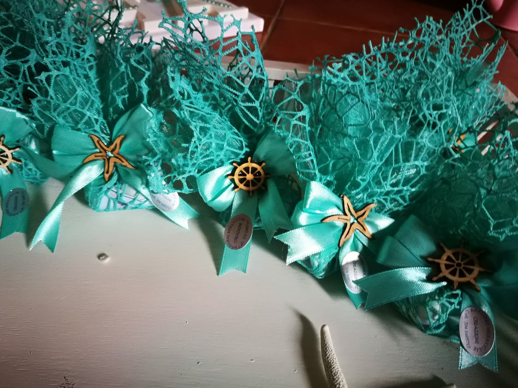 Bomboniere Matrimonio Verde Tiffany.Sacchetti Verde Tiffany Tema Mare Bomboniere Matrimonio Comunione