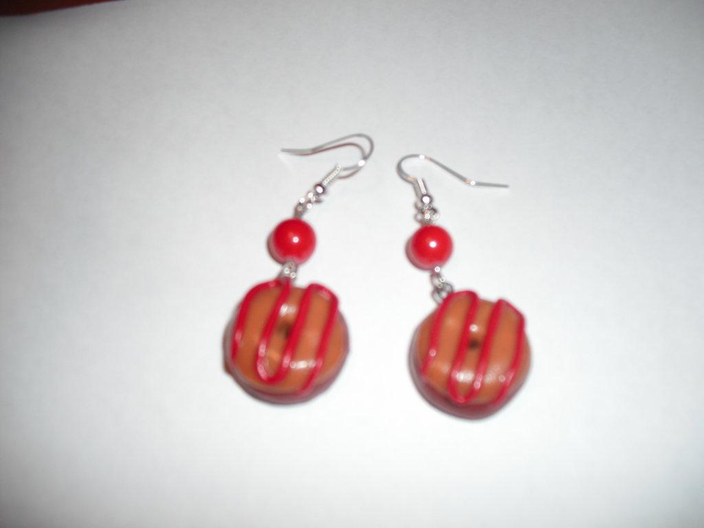orecchini ciambelline rosse